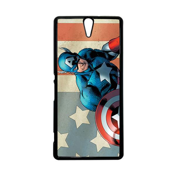 HEAVENCASE Superhero Captain America 18 Hitam Hardcase Casing for Sony Xperia C5 Ultra