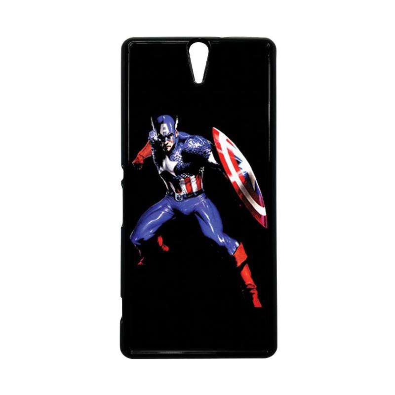 HEAVENCASE Superhero Captain America 19 Hitam Hardcase Casing for Sony Xperia C5 Ultra