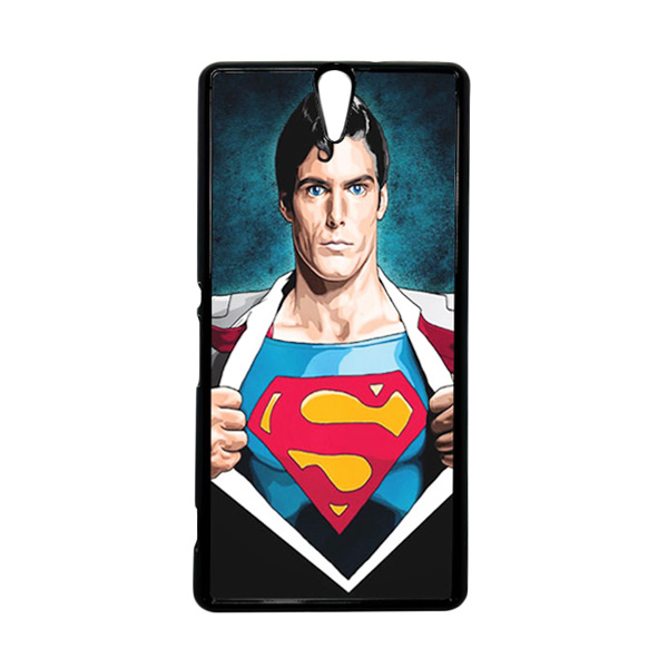 HEAVENCASE Superhero Superman 02 Hitam Hardcase Casing for Sony Xperia C5 Ultra