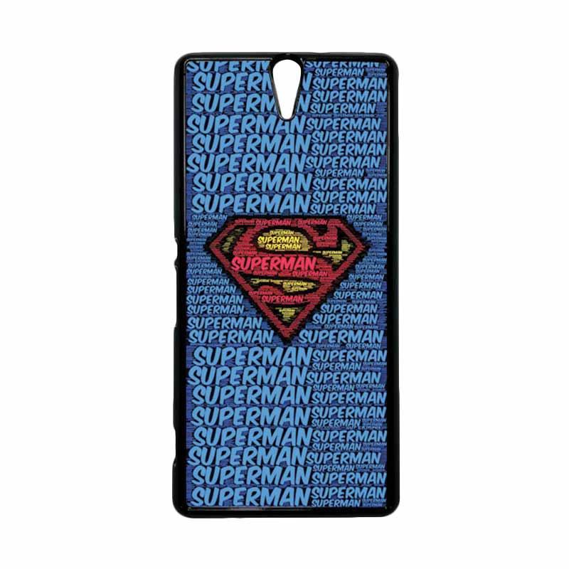 HEAVENCASE Superhero Superman 12 Hitam Hardcase Casing for Sony Xperia C5 Ultra