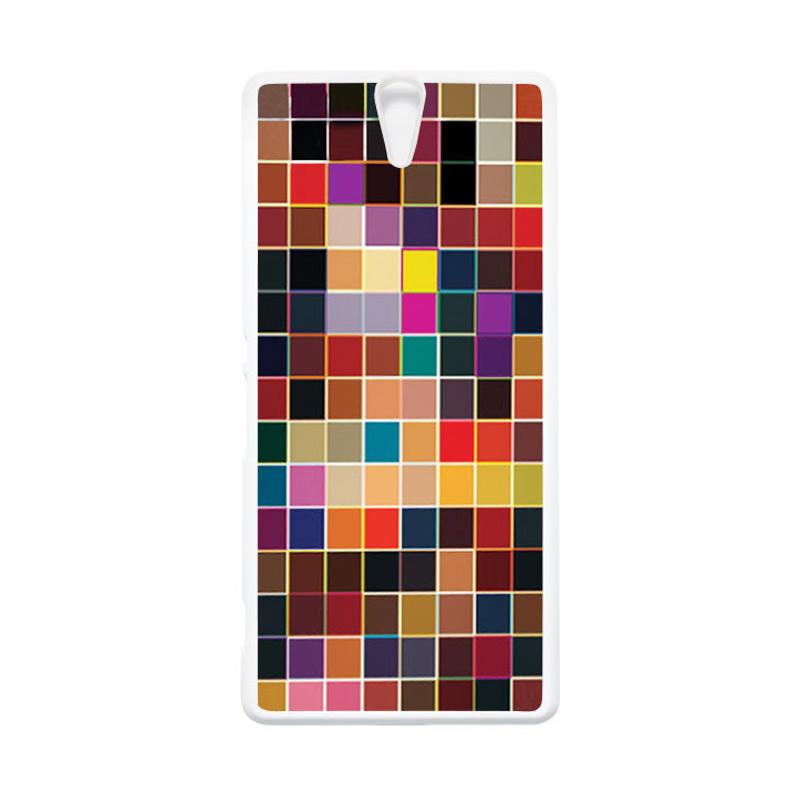 HEAVENCASE Case Casing Sony Xperia C5 Ultra Case Hardcase Putih Motif Batik Kayu Bokeh 13