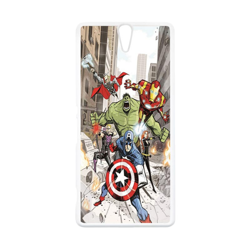 HEAVENCASE Superhero Avengers 08 Putih Hardcase Casing for Sony Xperia C5 Ultra