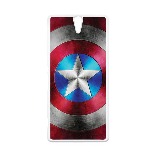 HEAVENCASE Superhero Captain America 01 Putih Hardcase Casing for Sony Xperia C5 Ultra