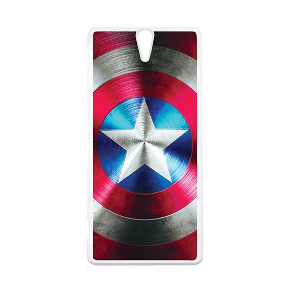 HEAVENCASE Superhero Captain America 03 Putih Hardcase Casing for Sony Xperia C5 Ultra