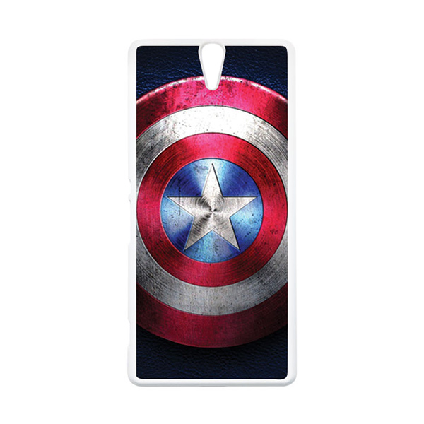 HEAVENCASE Superhero Captain America 04 Putih Hardcase Casing for Sony Xperia C5 Ultra