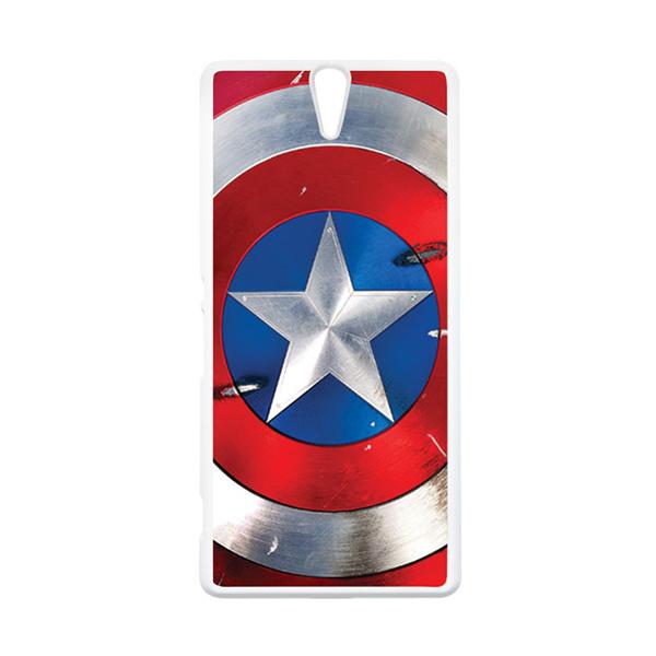 HEAVENCASE Superhero Captain America 05 Putih Hardcase Casing for Sony Xperia C5 Ultra