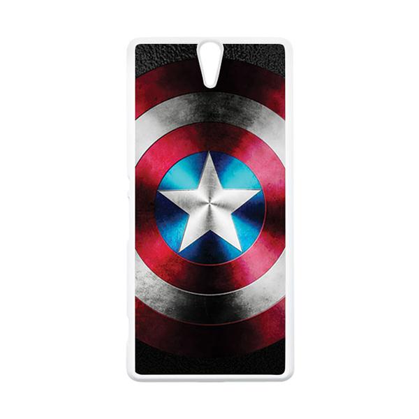 HEAVENCASE Superhero Captain America 07 Putih Hardcase Casing for Sony Xperia C5 Ultra