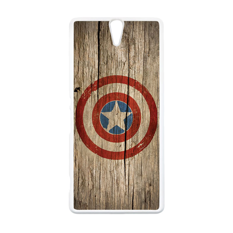 HEAVENCASE Superhero Captain America 11 Putih Hardcase Casing for Sony Xperia C5 Ultra