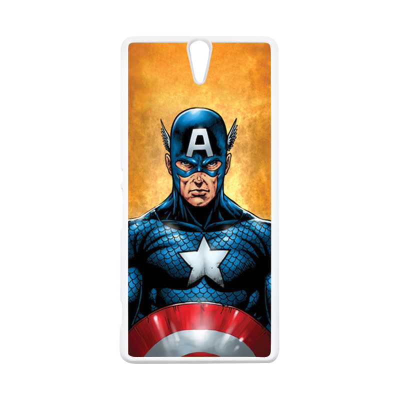 HEAVENCASE Superhero Captain America 14 Putih Hardcase Casing for Sony Xperia C5 Ultra