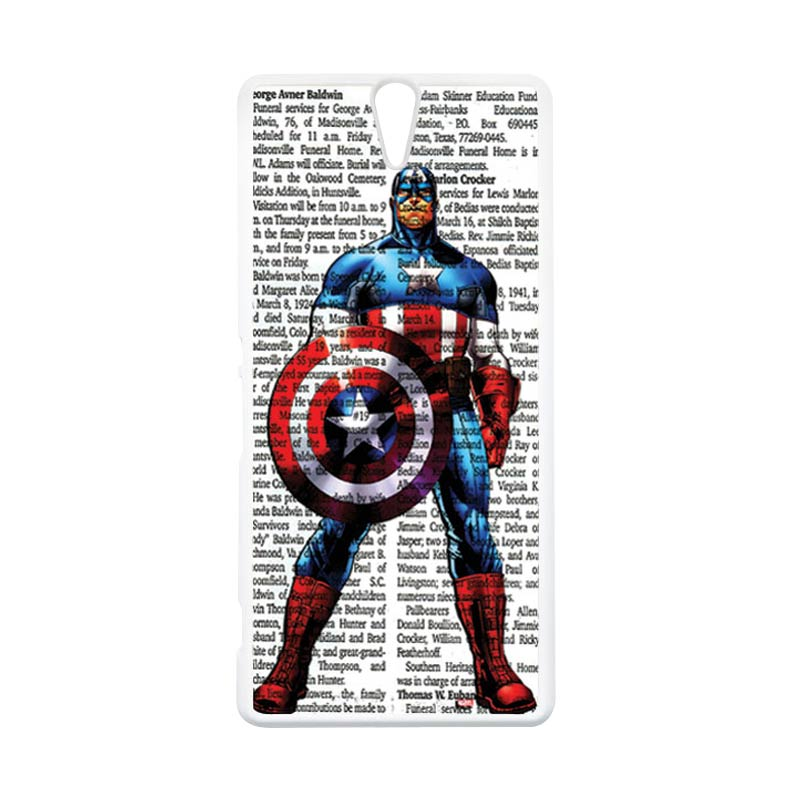 HEAVENCASE Superhero Captain America 15 Putih Hardcase Casing for Sony Xperia C5 Ultra