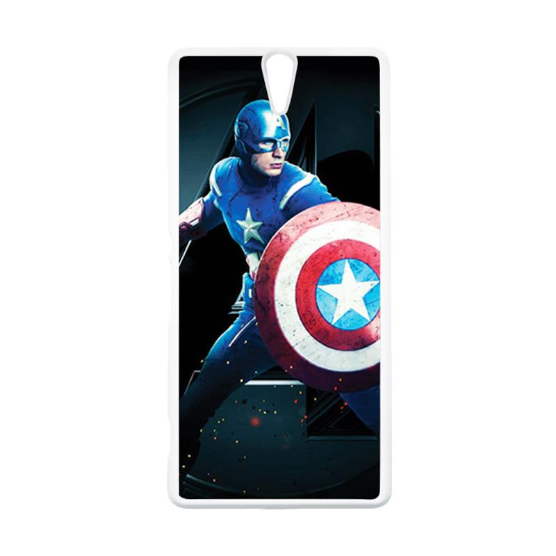 HEAVENCASE Superhero Captain America 17 Putih Hardcase Casing for Sony Xperia C5 Ultra