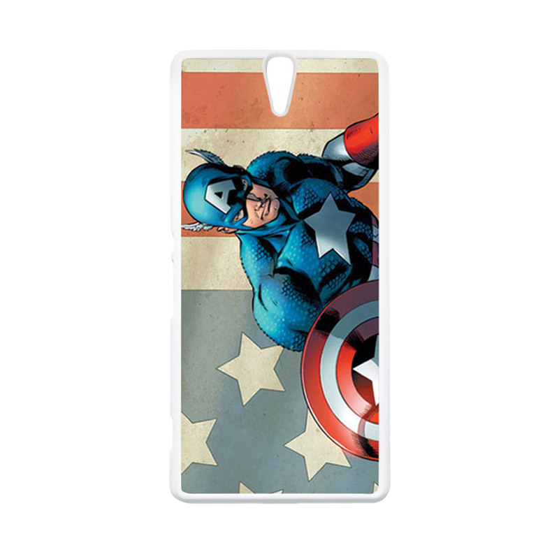 HEAVENCASE Superhero Captain America 18 Putih Hardcase Casing for Sony Xperia C5 Ultra