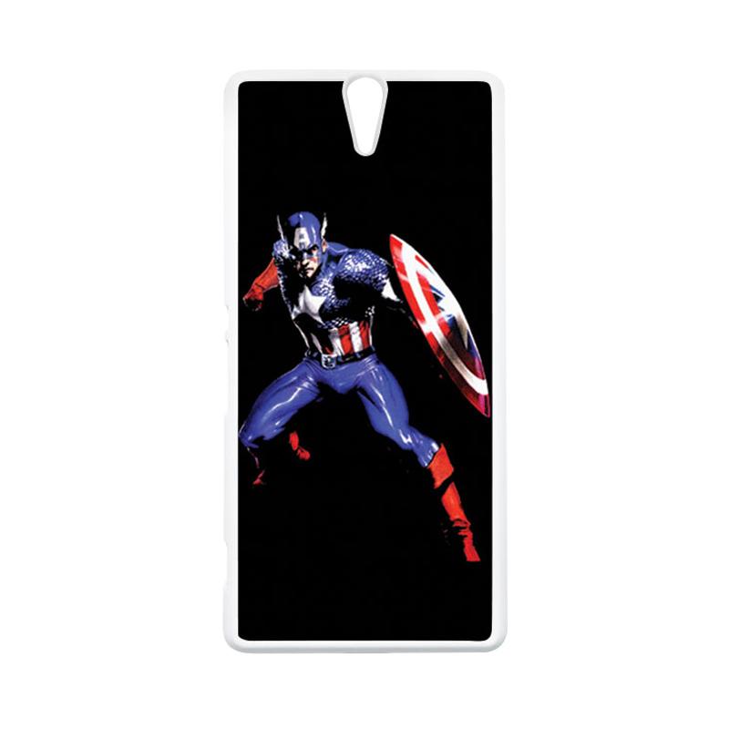 HEAVENCASE Superhero Captain America 19 Putih Hardcase Casing for Sony Xperia C5 Ultra