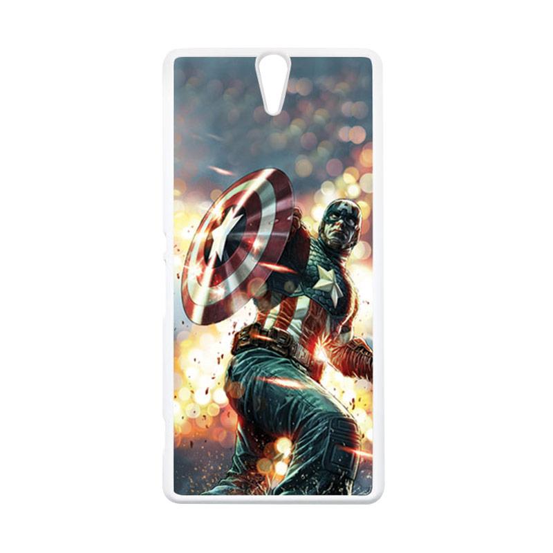 HEAVENCASE Superhero Captain America 22 Putih Hardcase Casing for Sony Xperia C5 Ultra
