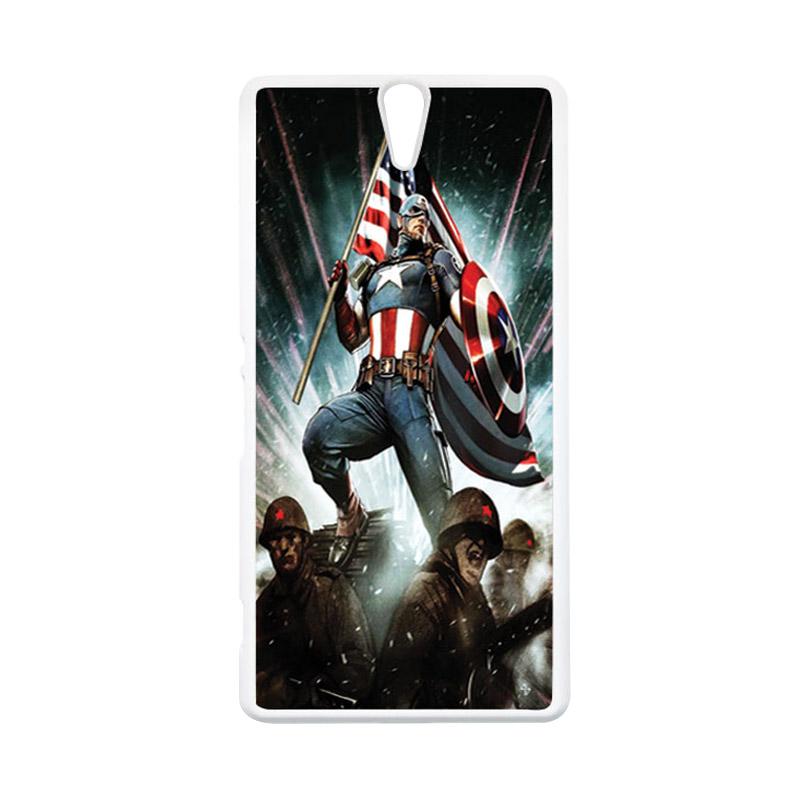 HEAVENCASE Superhero Captain America 23 Putih Hardcase Casing for Sony Xperia C5 Ultra
