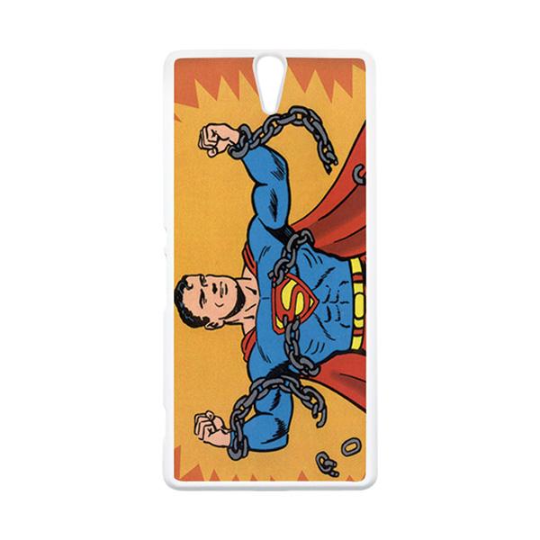 HEAVENCASE Superhero Superman 05 Putih Hardcase Casing for Sony Xperia C5 Ultra