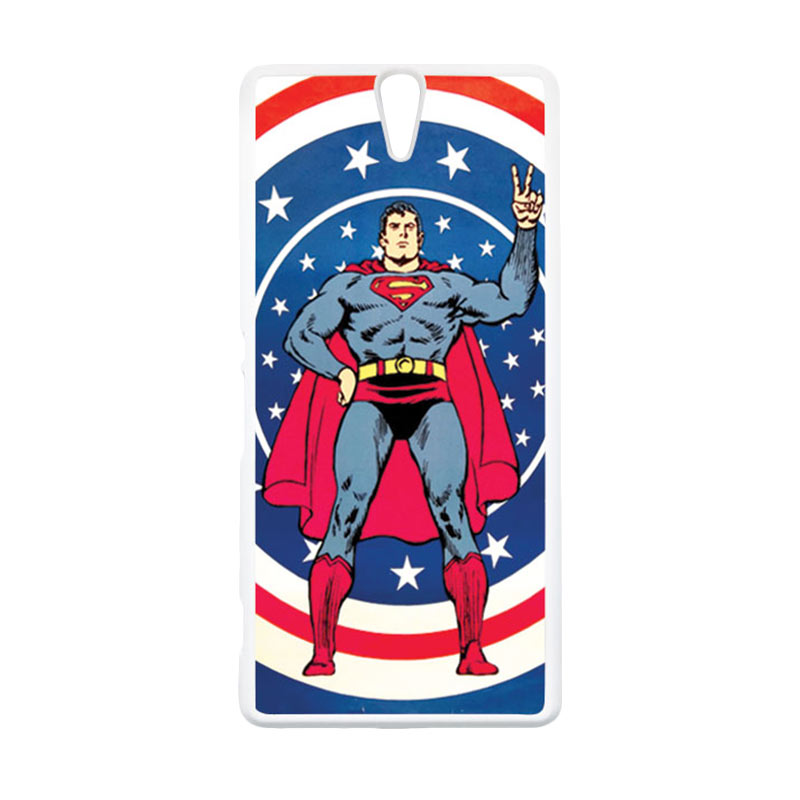 HEAVENCASE Superhero Superman 06 Putih Hardcase Casing for Sony Xperia C5 Ultra