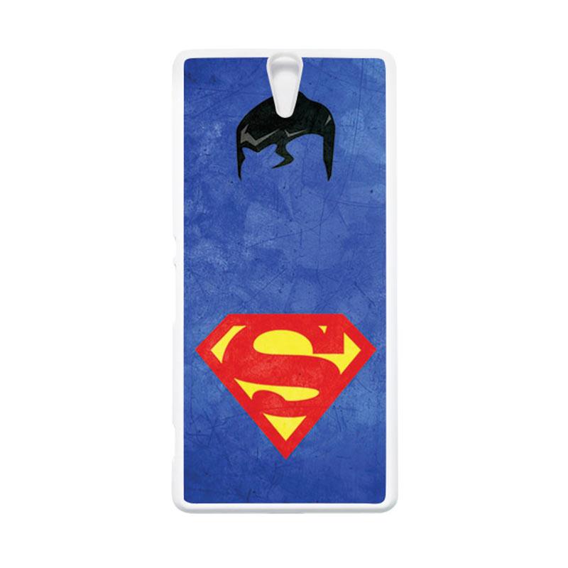HEAVENCASE Superhero Superman 10 Putih Hardcase Casing for Sony Xperia C5 Ultra