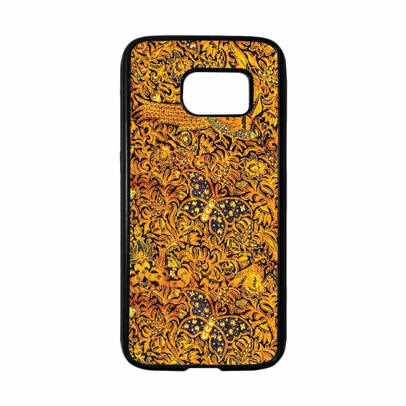 HEAVENCASE Motif Batik Bunga 01 Softcase TPU Bumper Casing for Samsung Galaxy S7 - Hitam