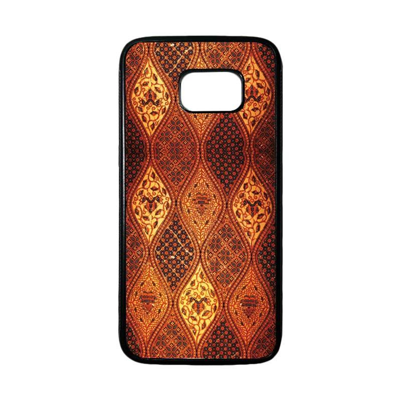 HEAVENCASE Motif Batik Bunga 02 Casing for Samsung Galaxy S7 Edge - Hitam