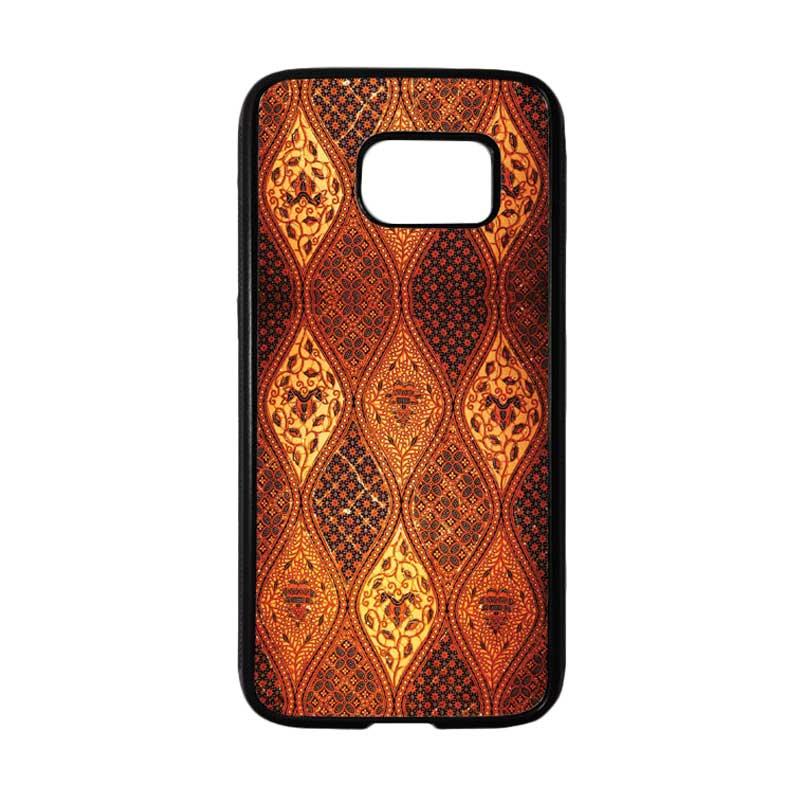 HEAVENCASE Motif Batik Bunga 02 Softcase TPU Bumper Casing for Samsung Galaxy S7 - Hitam