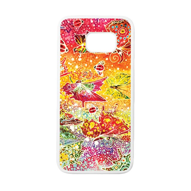 HEAVENCASE Motif Batik Bunga 03 Casing for Samsung Galaxy S7 Edge - Putih