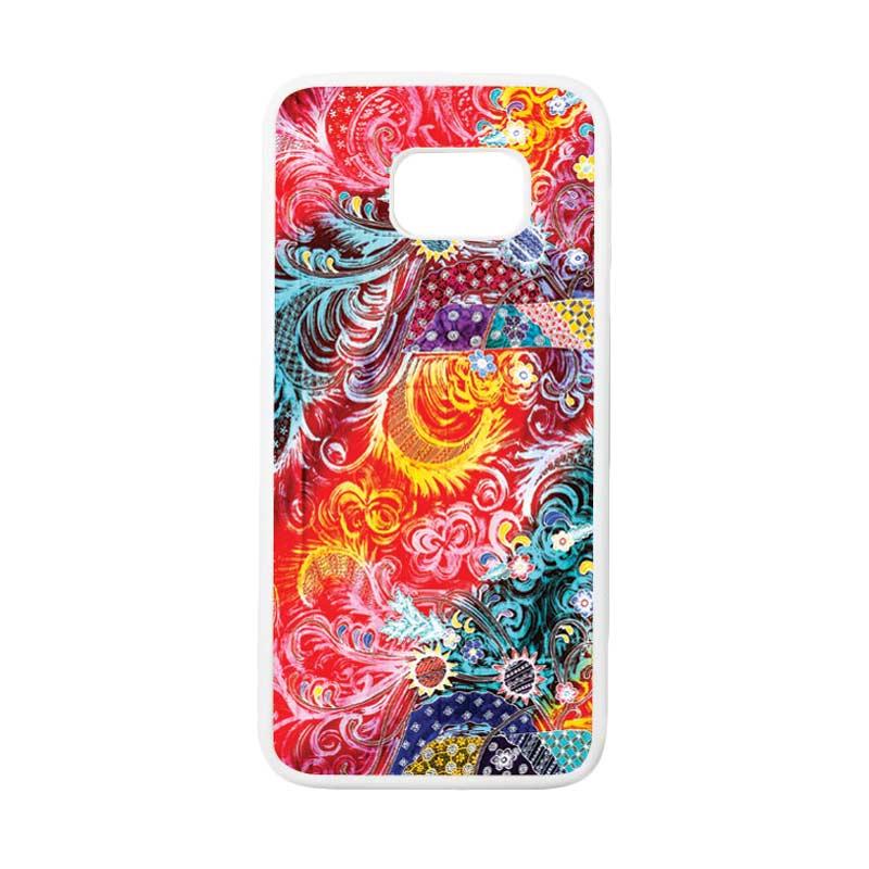 HEAVENCASE Motif Batik Bunga 04 Casing for Samsung Galaxy S7 Edge - Putih