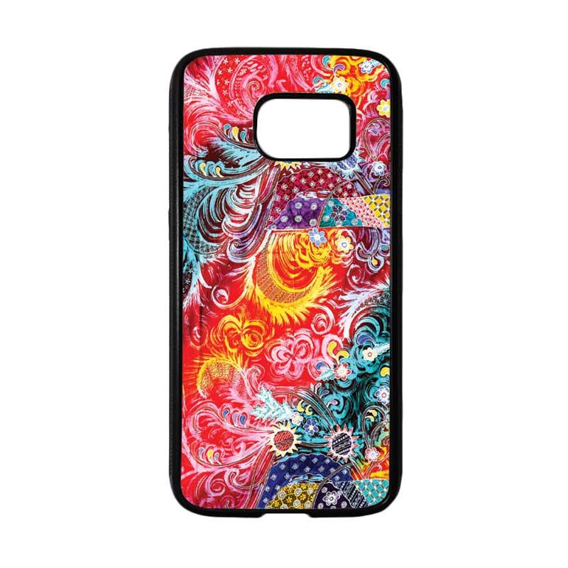HEAVENCASE Motif Batik Bunga 04 Softcase TPU Bumper Casing for Samsung Galaxy S7 - Hitam