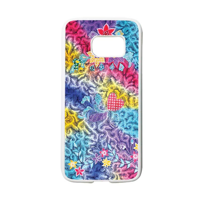 HEAVENCASE Motif Batik Bunga 05 Casing for Samsung Galaxy S7 - Putih