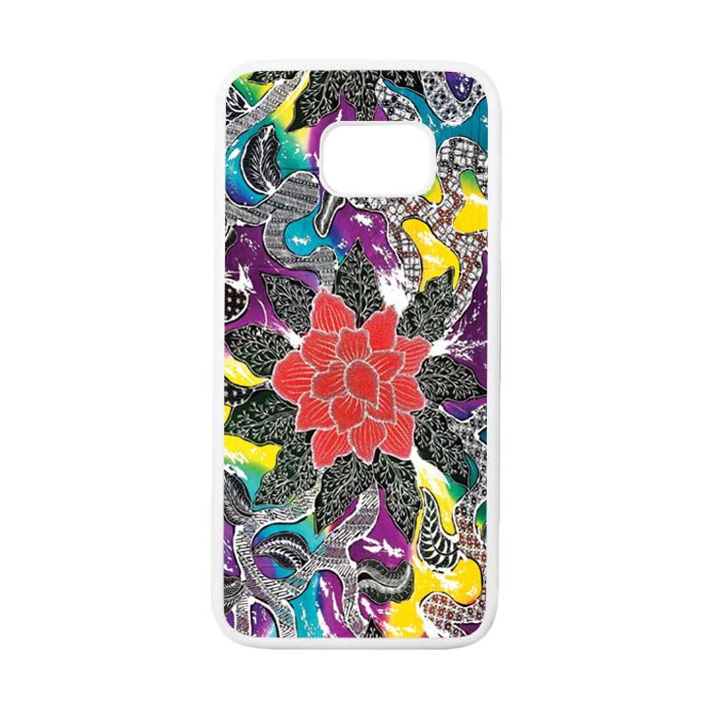 HEAVENCASE Motif Batik Bunga 06 Casing for Samsung Galaxy S7 Edge - Putih