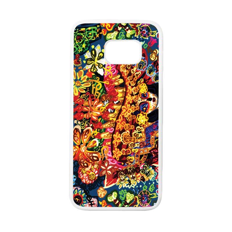 HEAVENCASE Motif Batik Bunga 07 Casing for Samsung Galaxy S7 Edge - Putih