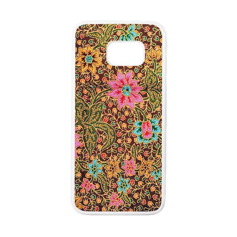 HEAVENCASE Motif Batik Bunga 08 Casing for Samsung Galaxy S7 Edge - Putih