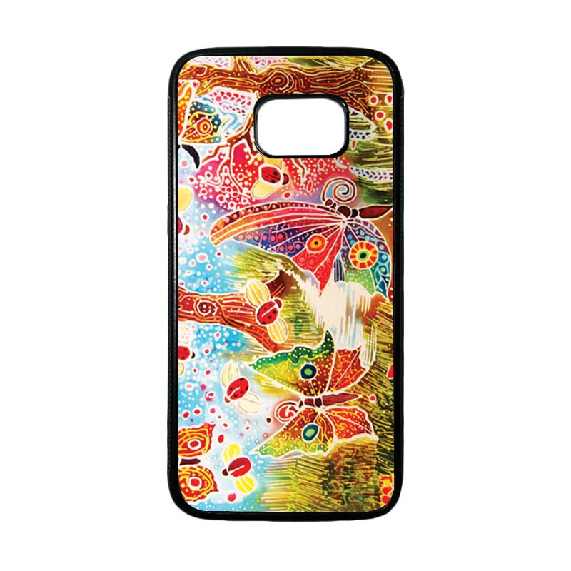 HEAVENCASE Motif Batik Bunga 09 Casing for Samsung Galaxy S7 Edge - Hitam