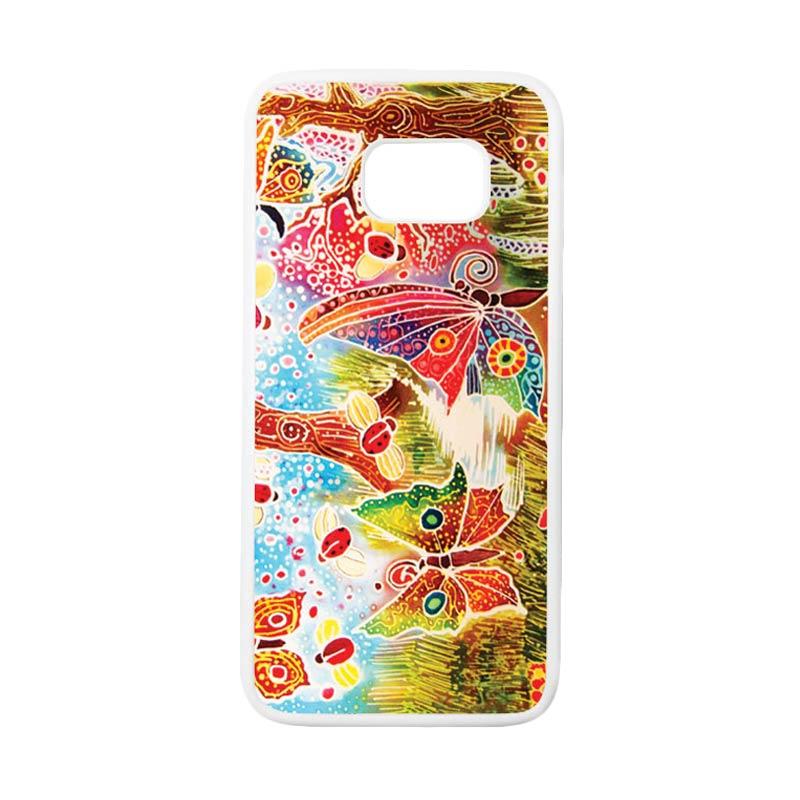 HEAVENCASE Motif Batik Bunga 09 Casing for Samsung Galaxy S7 Edge - Putih
