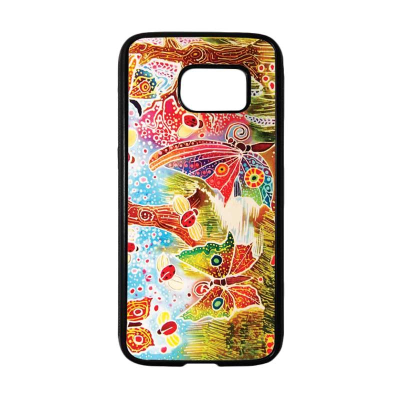 HEAVENCASE Motif Batik Bunga 09 Tpu Bumper Casing for Samsung Galaxy S7 - Hitam