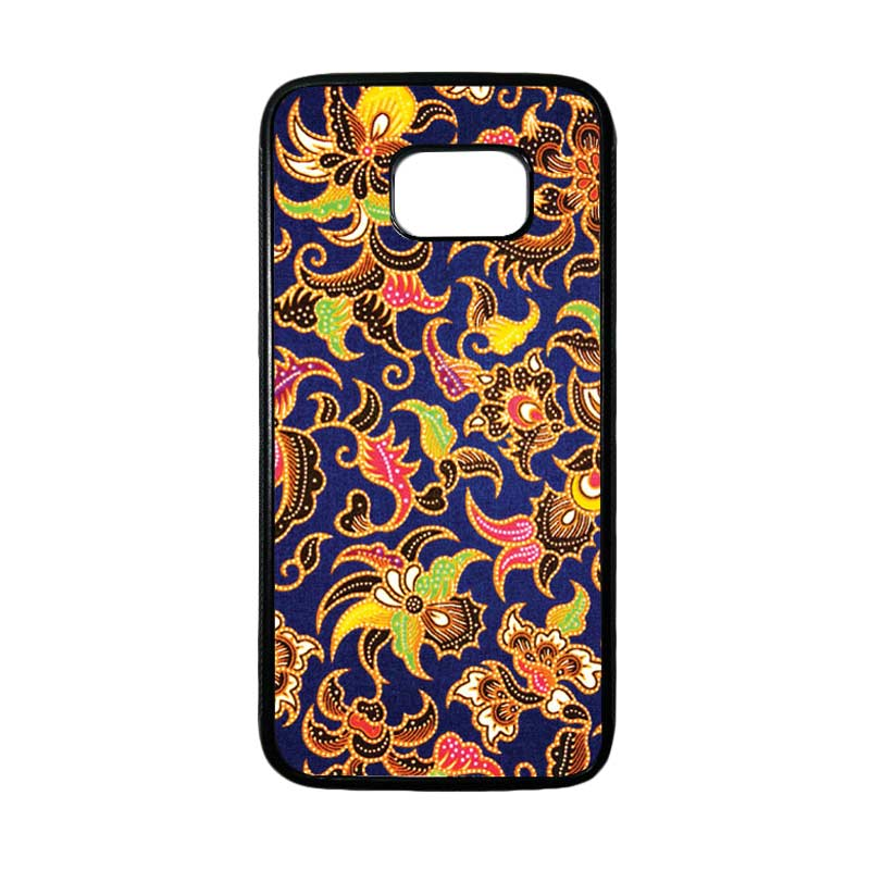 HEAVENCASE Motif Batik Bunga 10 Casing for Samsung Galaxy S7 Edge - Hitam