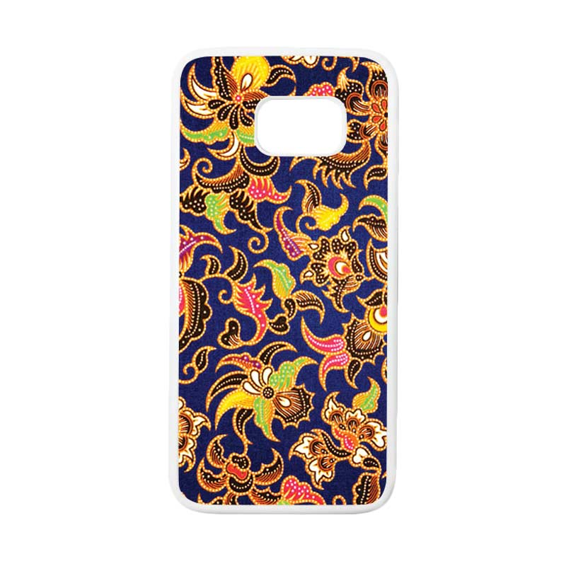 HEAVENCASE Motif Batik Bunga 10 Casing for Samsung Galaxy S7 Edge - Putih