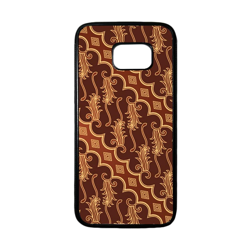 HEAVENCASE Motif Batik Bunga 12 Casing for Samsung Galaxy S7 Edge - Hitam