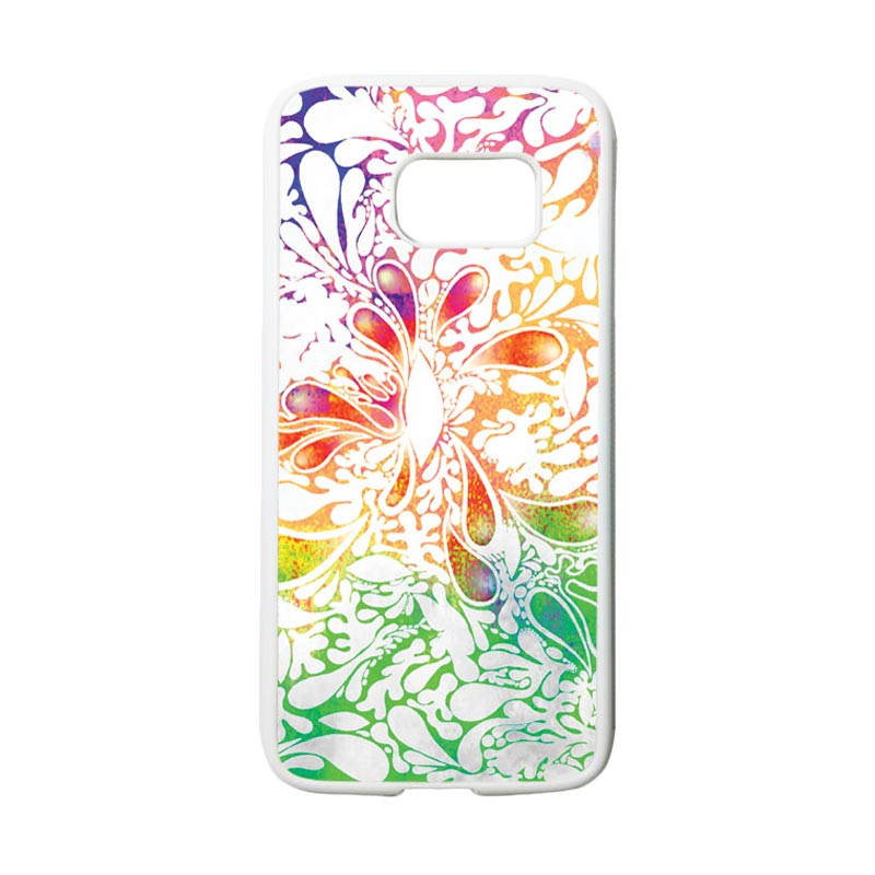 HEAVENCASE Motif Batik Bunga 13 Casing for Samsung Galaxy S7 - Putih