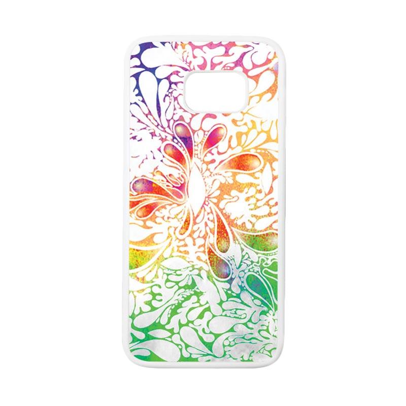 HEAVENCASE Motif Batik Bunga 13 Casing for Samsung Galaxy S7 Edge - Putih
