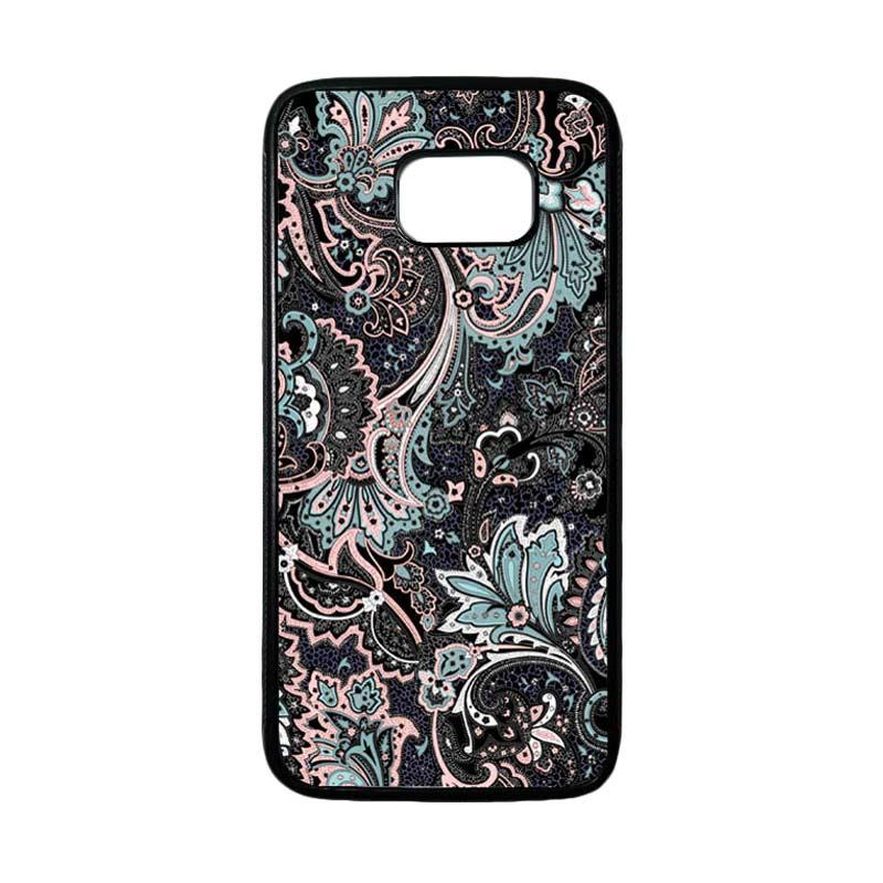 HEAVENCASE Motif Batik Bunga 14 Casing for Samsung Galaxy S7 Edge - Hitam