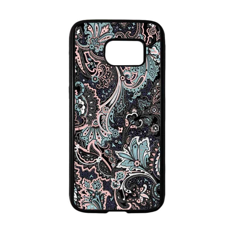 HEAVENCASE Motif Batik Bunga 14 Softcase TPU Bumper Casing for Samsung Galaxy S7 - Hitam