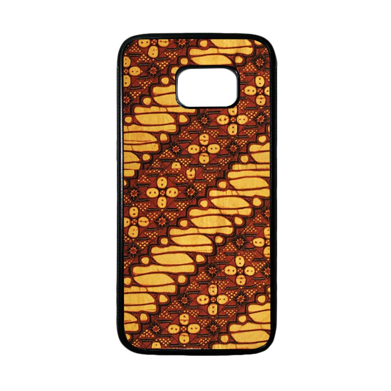 HEAVENCASE Motif Batik Bunga 15 Casing for Samsung Galaxy S7 Edge - Hitam