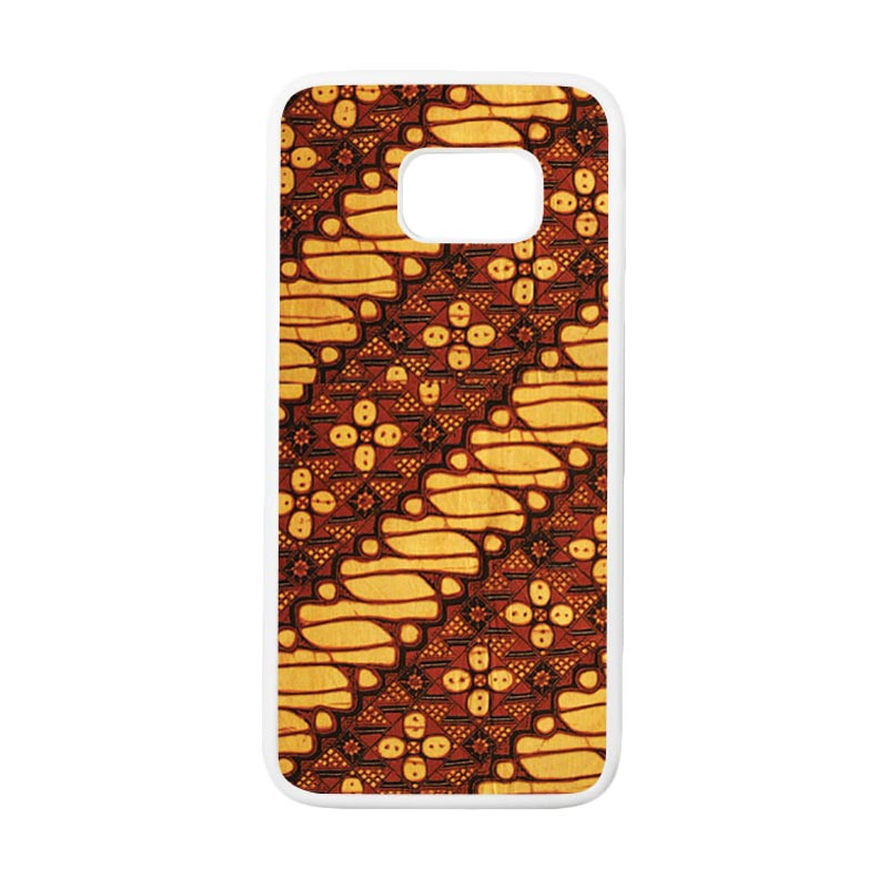 HEAVENCASE Motif Batik Bunga 15 Casing for Samsung Galaxy S7 Edge - Putih