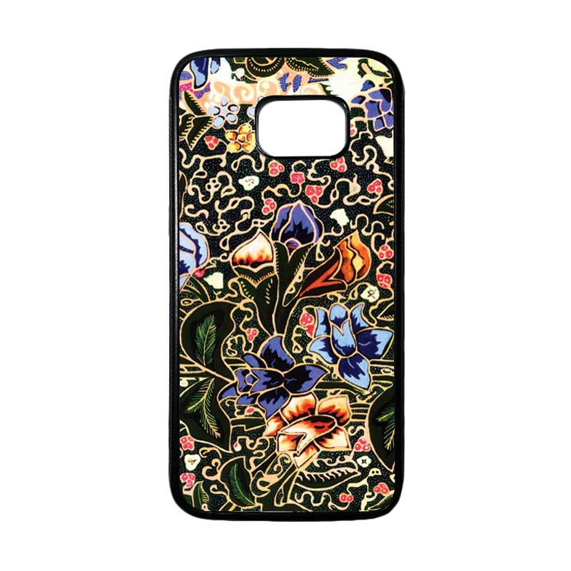 HEAVENCASE Motif Batik Bunga 20 Casing for Samsung Galaxy S7 Edge - Hitam