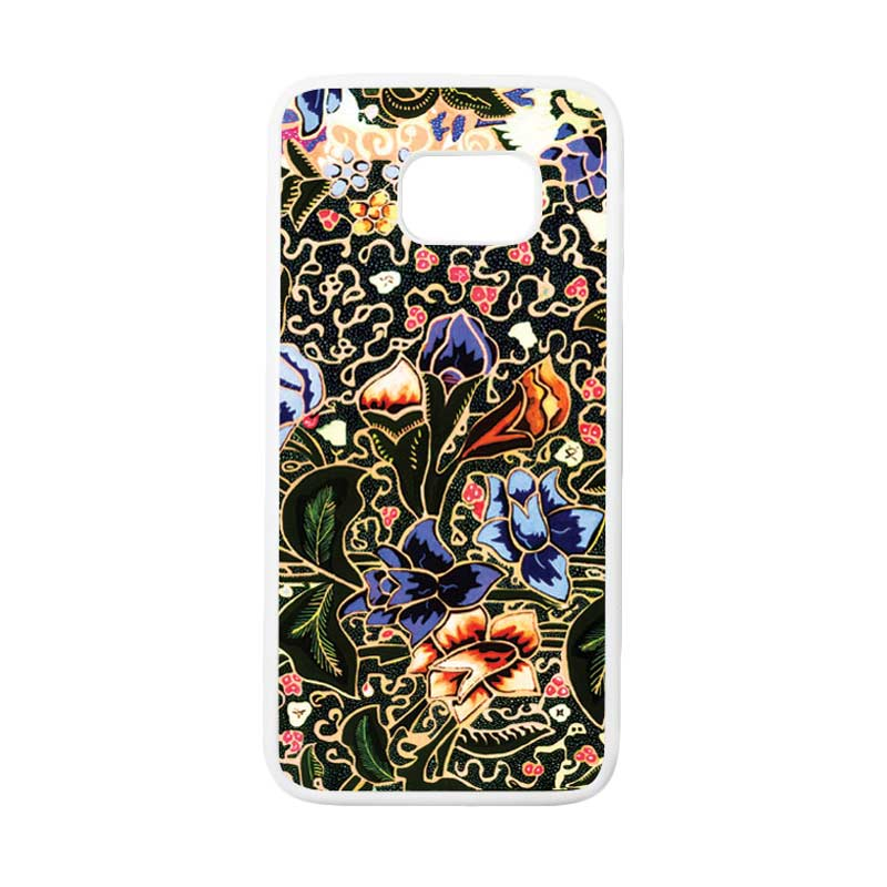 HEAVENCASE Motif Batik Bunga 20 Casing for Samsung Galaxy S7 Edge - Putih