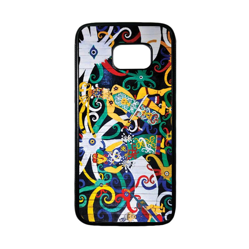 HEAVENCASE Motif Batik Bunga 22 Casing for Samsung Galaxy S7 Edge - Hitam