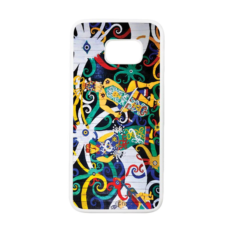 HEAVENCASE Motif Batik Bunga 22 Casing for Samsung Galaxy S7 Edge - Putih