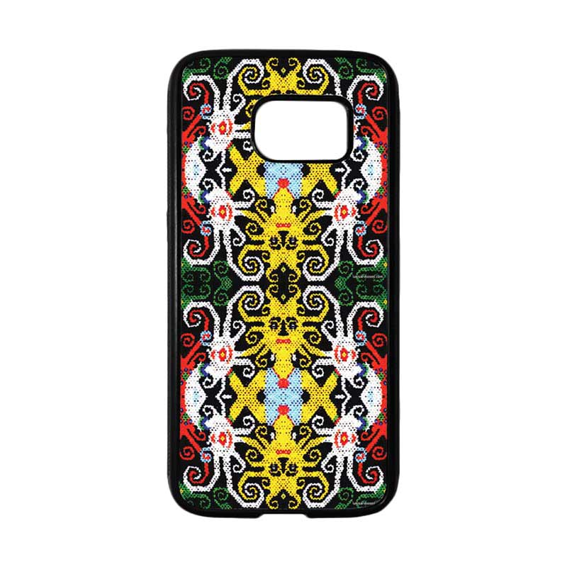 HEAVENCASE Motif Batik Bunga 23 Casing for Samsung Galaxy S7 - Hitam