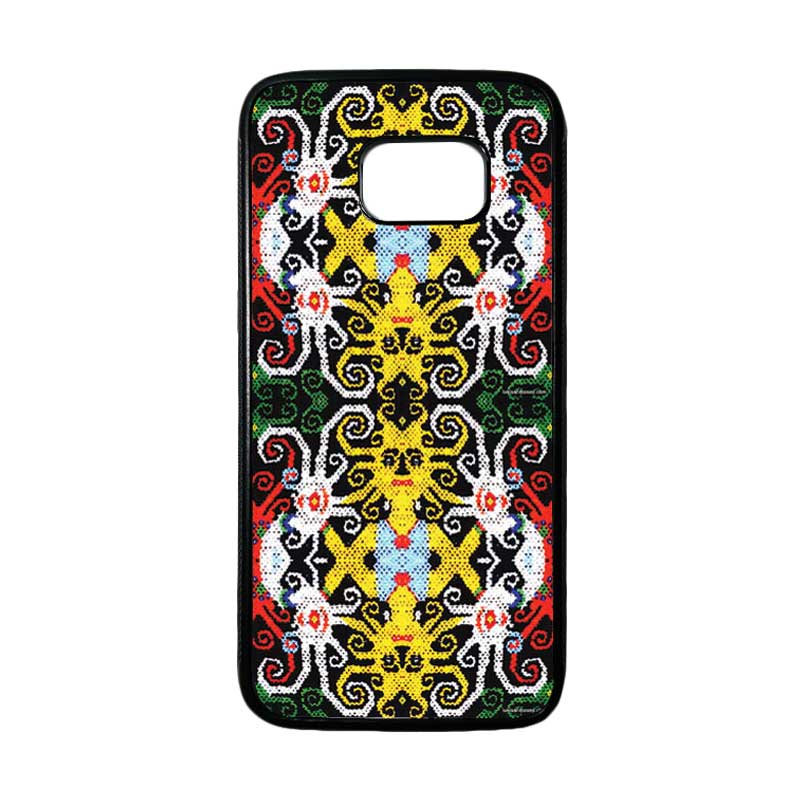 HEAVENCASE Motif Batik Bunga 23 Casing for Samsung Galaxy S7 Edge - Hitam